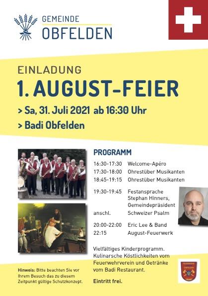 1. Augustfeier 2021 @ Badi Obfelden | Obfelden | Zürich | Schweiz